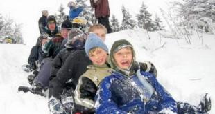 copii sanie iarna zapada vacanta