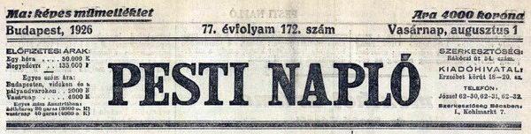 pesti naplo 1926