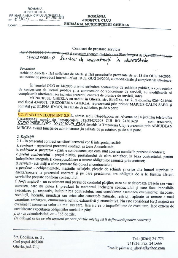 contract primarie gherla siab development