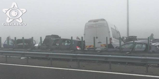 accident autostrada a2 calarasi romania lant car crash chain calarasi