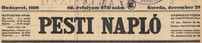 pesti naplo 1938