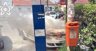 incendiu masina politie huedin flacari cluj
