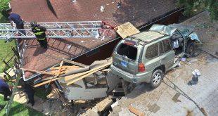 accident sua masina acoperis
