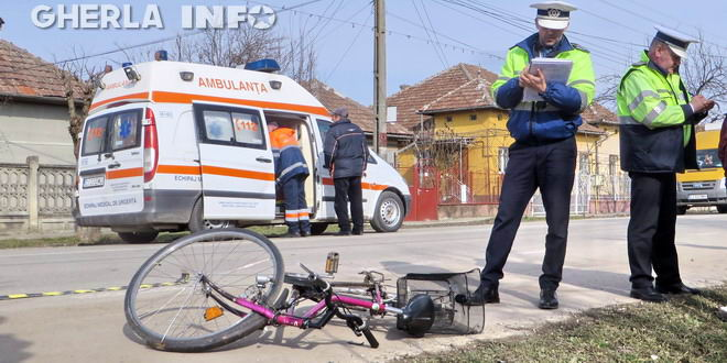 accident biciclist ambulanta politia gherla
