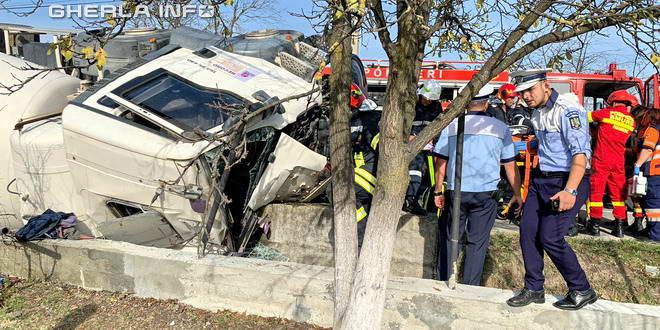 accident betoniera bistrita sarata rasturnat pompieri politie