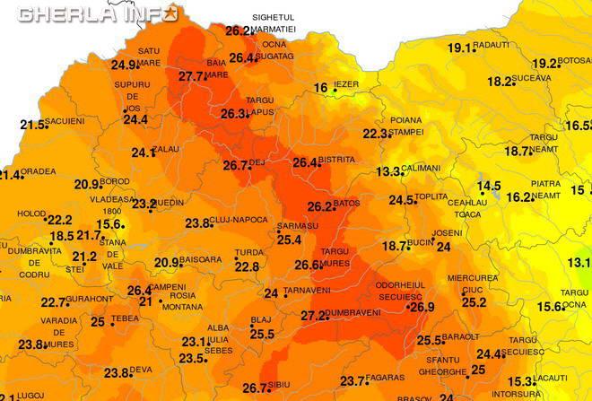 harta temperatura record caldura