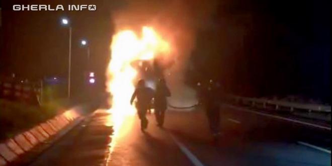 incendiu tir gherla dej pompieri