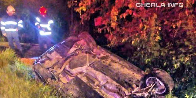 accident masina rasturnata dej pompieri