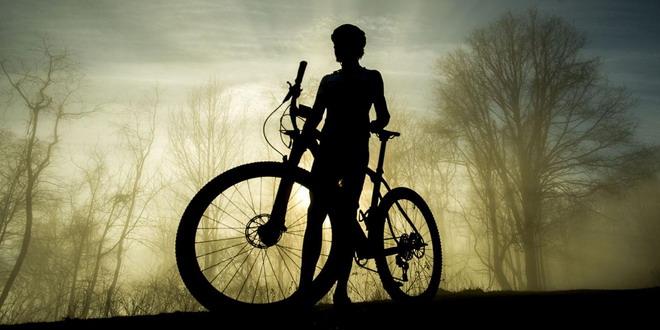 copil bicicleta padure