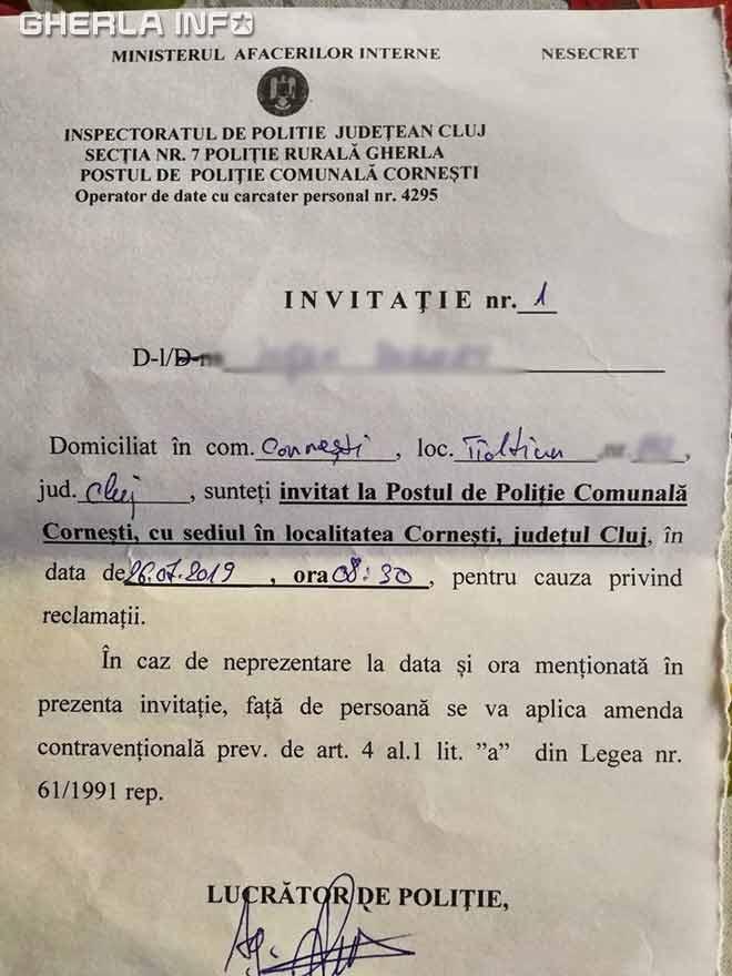 invitatie politie cornesti tioltiur