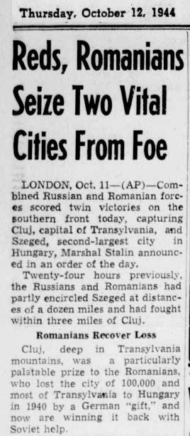 1944 octombrie razboi romania cluj