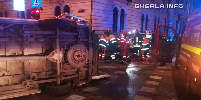 accident cluj pompieri rasturnat