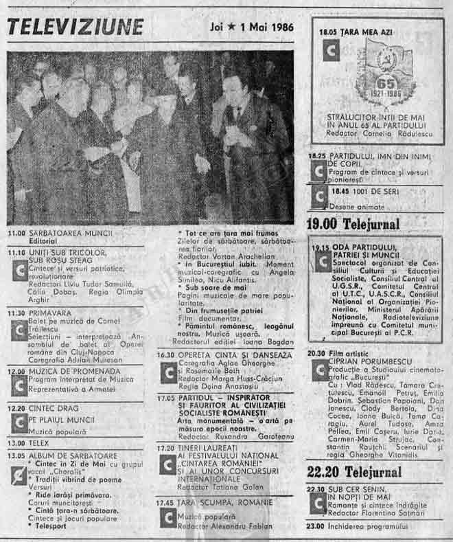 program tvr tv 1986 1 mai