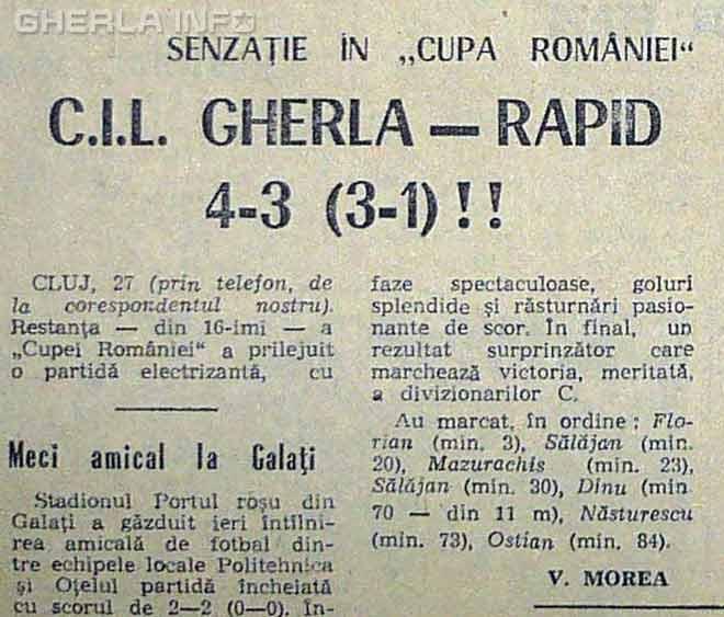 fotbal cupa romaniei 1970 cil gherla rapid bucuresti