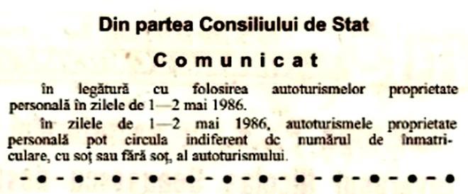 circulatie masina cu sot fara 1986 1 mai ziar