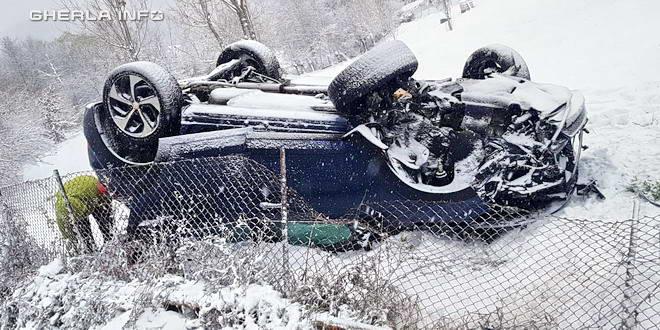 accident feleac rasturnat iarna zapada cluj