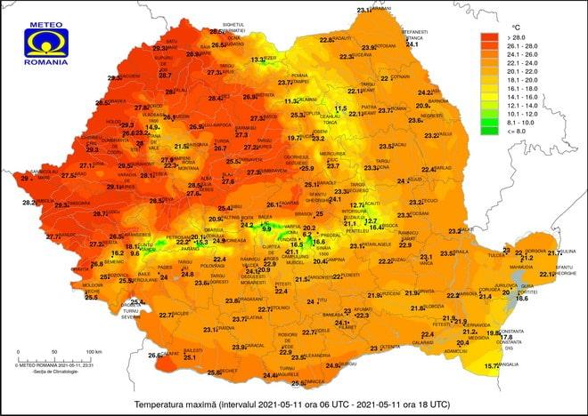 temperatura mai maxima romania